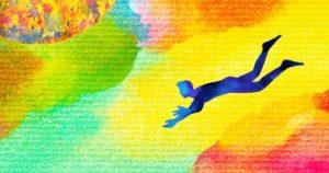 Blue man falling in space